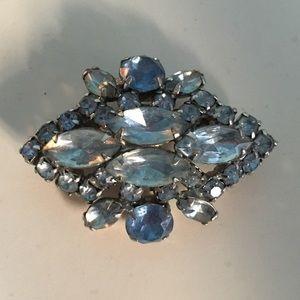 Vintage 1960's Blue Rhinestone Silver Metal Brooch